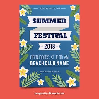 Affiche du festival d'été avec style floral