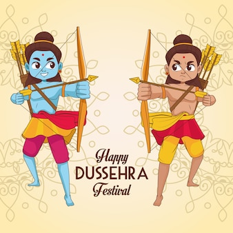 Affiche du festival happy dussehra avec deux personnages rama