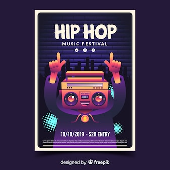 Affiche du festival hip hop avec illustration de dégradé