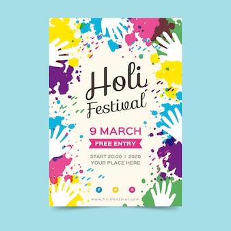 Affiche du festival de holi dessiné à la main