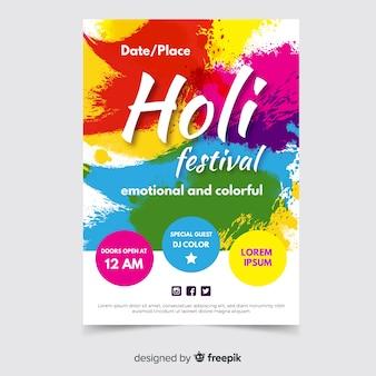 Affiche du festival holi de taches colorées