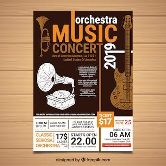 Affiche du festival avec des instruments