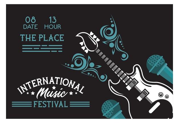 Affiche du festival international de musique avec guitare électrique et microphones