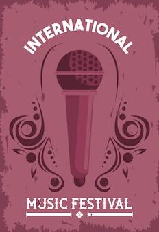 Affiche du festival international de musique avec microphone