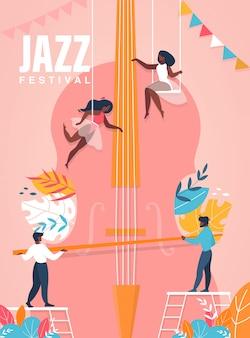 Affiche du festival de jazz. personnes jouant sur l'énorme illustration de violoncelle