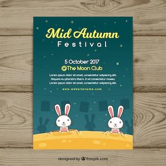 Affiche du festival de mi-automne avec des lapins amusants