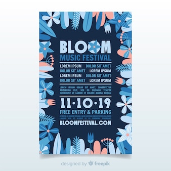 Affiche du festival de musique cadre floral