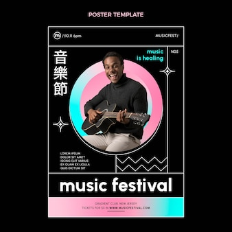 Affiche du festival de musique coloré dégradé