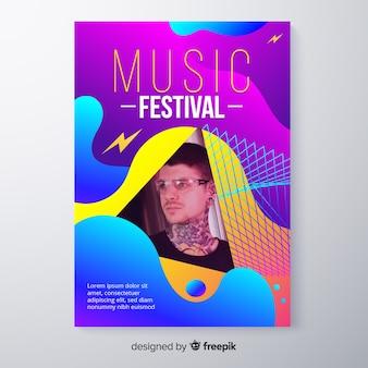 Affiche du festival de musique colorée abstraite avec photo