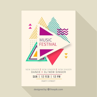 Affiche du festival de musique dans le style dessiné à la main