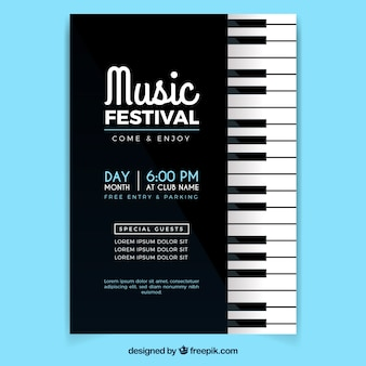 Affiche du festival de musique dans le style plat