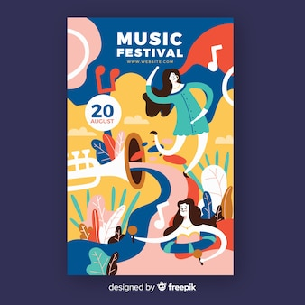 Affiche du festival de musique dessiné à la main avec des danseurs