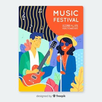 Affiche du festival de musique dessiné à la main