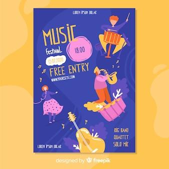 Affiche du festival de musique dessinée à la main avec entrée gratuite