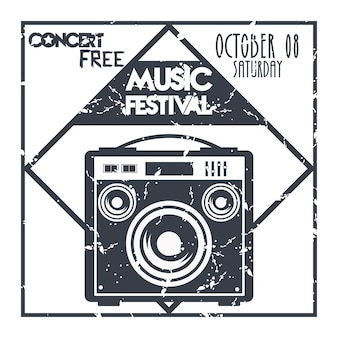 Affiche du festival de musique avec étiquette monochrome de haut-parleur.