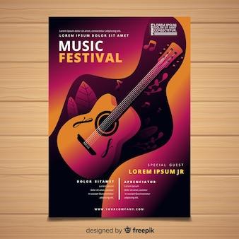 Affiche du festival de musique de guitare dégradé