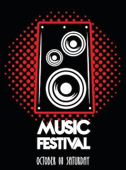 Affiche du festival de musique avec haut-parleur en arrière-plan pointillé.