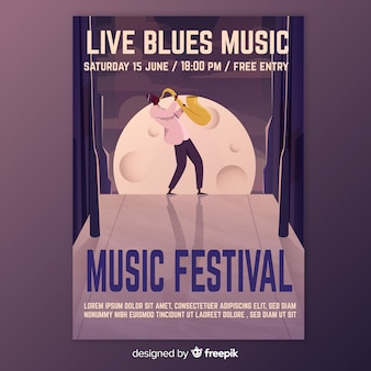 Affiche du festival de musique illustration dégradé
