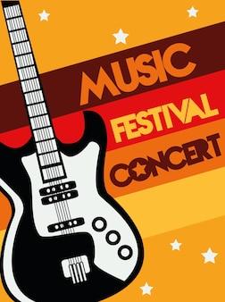 Affiche du festival de musique avec instrument de guitare électrique et lettrage.