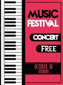 Affiche du festival de musique avec instrument de piano musical.