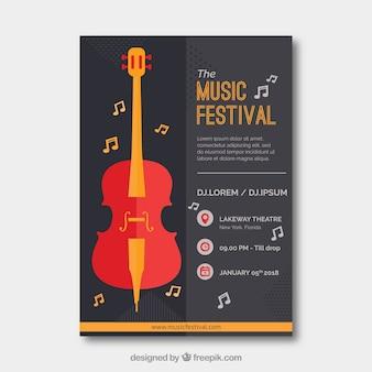Affiche du festival de musique avec des instruments dans le style plat