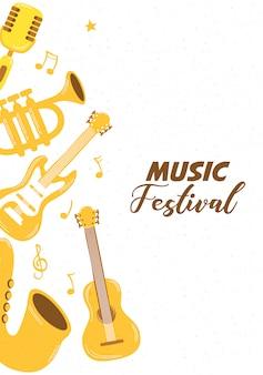 Affiche du festival de musique avec des instruments