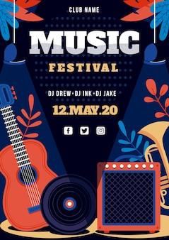 Affiche du festival de musique avec instruments