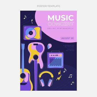 Affiche du festival de musique minimaliste design plat