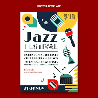 Affiche du festival de musique minimaliste de style plat