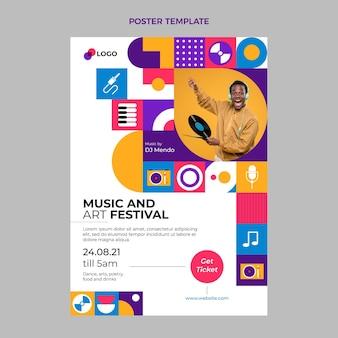 Affiche du festival de musique en mosaïque plate