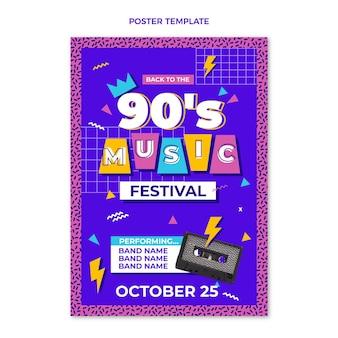 Affiche du festival de musique nostalgique des années 90 au design plat