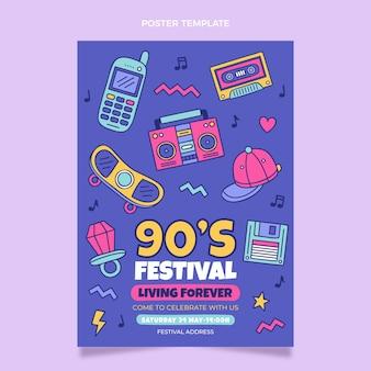 Affiche du festival de musique nostalgique des années 90 dessinée à la main