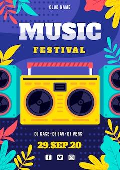 Affiche du festival de musique avec radio