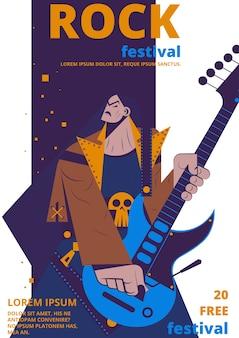 Affiche du festival de musique rock. plaque de concert rocker ou billet d'entrée plat dessin animé