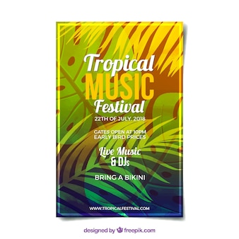Affiche du festival avec des plantes