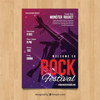 Affiche du festival de rock dans le style abstrait