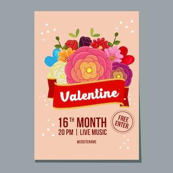 Affiche du festival de la saint-valentin avec fleur renoncule