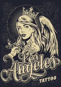 Affiche du festival de tatouage monochrome vintage