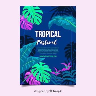 Affiche du festival tropical dessiné à la main