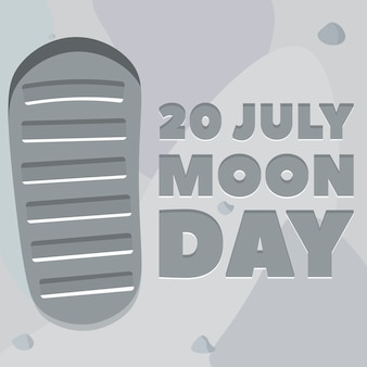 Affiche du jour de la lune. empreinte, sol lunaire.