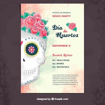 Affiche du jour des morts avec crâne aquarelle