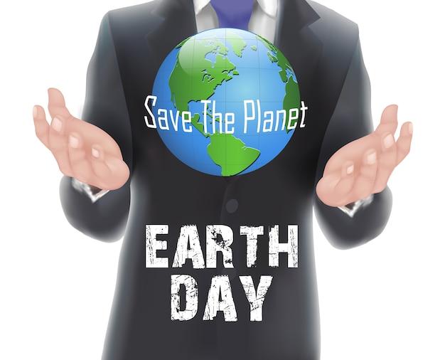 Affiche du jour de la terre avec un homme d'affaires tenant le monde en main