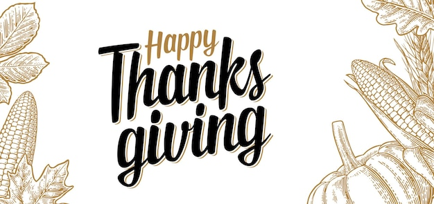 Affiche du jour de thanksgiving avec feuilles, citrouille et épi de maïs mûr. isolé sur fond blanc. illustration de gravure en bronze vintage de vecteur.