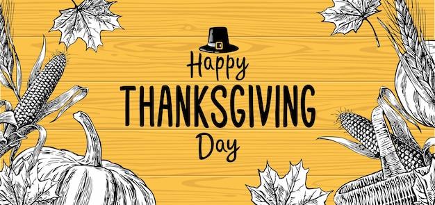 Affiche du jour de thanksgiving avec feuilles, citrouille, épi de maïs, oreille et spica isolés sur fond de bois. illustration vintage verticale de vecteur pour carte de voeux.