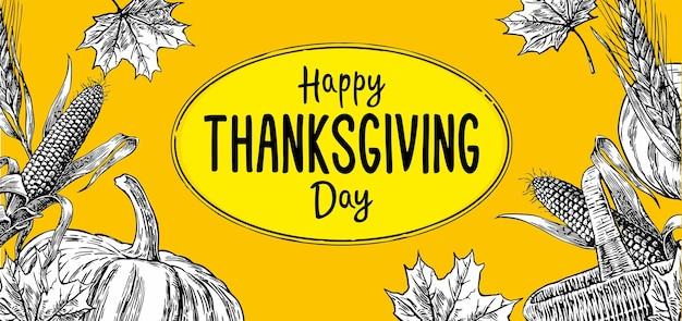 Affiche du jour de thanksgiving avec feuilles, citrouille, épi de maïs, oreille et spica isolés sur fond jaune. illustration vintage verticale de vecteur pour carte de voeux.