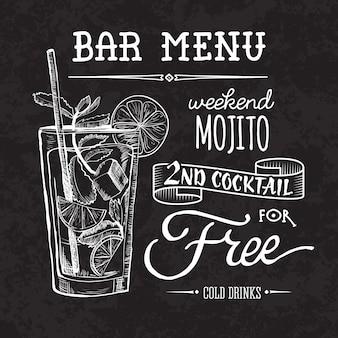 Affiche du menu de bar sur le tableau de craie