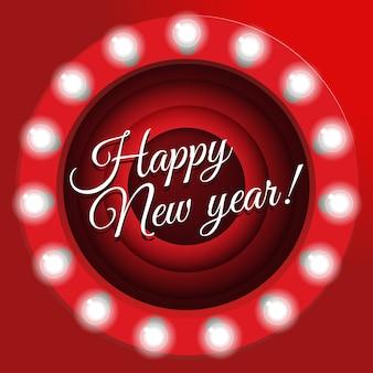 Affiche du nouvel an dans un style rétro. film se terminant écran, illustration. bannière avec ampoules,