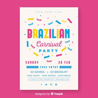 Affiche du parti carnaval brésilien de confettis plats