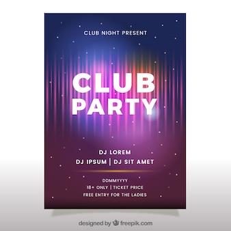 Affiche du parti du club avec style néon