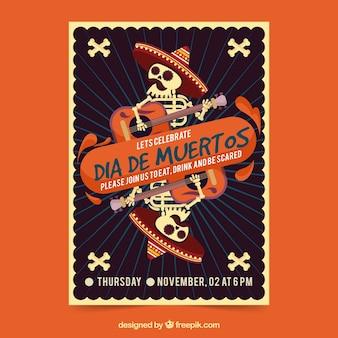 Affiche du parti mexicain avec mariachis mort